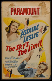 """The Sky's the Limit (RKO, 1943). Window Card (14"""" X 22""""). Musical Comedy. Starring Fred Astaire, Joan Leslie..."""