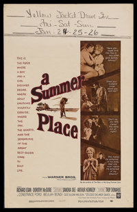 """A Summer Place (Warner Brothers, 1959). Window Card (14"""" X 22"""") and Mexican Lobby Card (12.5"""" X 16"""")..."""