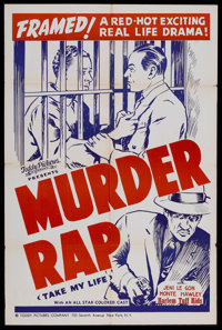 """Take My Life (Toddy Pictures, R-1940s). One Sheet (27"""" X 41""""). Re-released as """"Murder Rap."""" War. Dir..."""