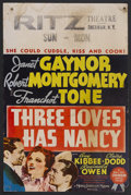 """Movie Posters:Comedy, Three Loves Has Nancy (MGM, 1938). Window Card (14"""" X 22""""). Comedy. Starring Janet Gaynor, Robert Montgomery, Franchot Tone,..."""
