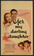 """Movie Posters:Comedy, Yes, My Darling Daughter (Warner Brothers, 1939). Midget Window Card (8"""" X 14""""). Romantic Comedy. Starring Priscilla Lane, J..."""