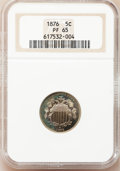 Proof Shield Nickels, 1876 5C PR65 NGC. NGC Census: (83/34). PCGS Population (79/27).Mintage: 1,150. Numismedia Wsl. Price for problem free NGC/...