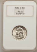 Washington Quarters, 1936-D 25C MS65 NGC....