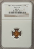California Fractional Gold: , 1864 50C Liberty Round 50 Cents, BG-1016, R.5, MS62 NGC. NGCCensus: (3/0). PCGS Population (22/8). (#10845)...