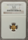 California Fractional Gold: , 1856 50C Liberty Round 50 Cents, BG-434, Low R.4, AU58 NGC. NGCCensus: (6/11). PCGS Population (24/80). (#10470)...