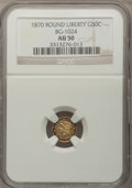 California Fractional Gold: , 1870 50C Liberty Round 50 Cents, BG-1024, Low R.4, AU50 NGC. NGCCensus: (3/9). PCGS Population (6/127). (#10853)...