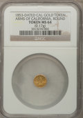 """California Gold Charms, """"1853"""" Round Arms of California / California Gold MS64 NGC. 0.17gm...."""
