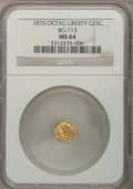 California Fractional Gold: , 1870 25C Liberty Octagonal 25 Cents, BG-713, R.4, MS64 NGC. NGCCensus: (1/8). PCGS Population (21/32). (#10540)...