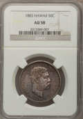 Coins of Hawaii: , 1883 50C Hawaii Half Dollar AU58 NGC. NGC Census: (53/148). PCGSPopulation (41/210). Mintage: 700,000. (#10991). From T...