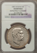 Coins of Hawaii, 1883 $1 Hawaii Dollar--Improperly Cleaned--NGC Details. AU. NGCCensus: (21/148). PCGS Population (56/187). Mintage: 500,00...