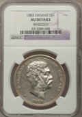 Coins of Hawaii, 1883 $1 Hawaii Dollar--Whizzed--NGC Details. AU. NGC Census:(21/148). PCGS Population (56/187). Mintage: 500,000. (#10995...