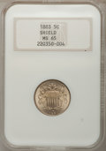 1883 5C MS65 NGC. NGC Census: (259/106). PCGS Population (208/113). Mintage: 1,456,919. Numismedia Wsl. Price for proble...