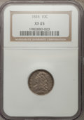 Bust Dimes: , 1835 10C XF45 NGC. NGC Census: (22/366). PCGS Population (42/302).Mintage: 1,410,000. Numismedia Wsl. Price for problem fr...
