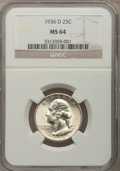 Washington Quarters: , 1936-D 25C MS64 NGC. NGC Census: (290/204). PCGS Population(614/399). Mintage: 5,374,000. Numismedia Wsl. Price for proble...