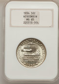 Commemorative Silver: , 1936 50C Wisconsin MS65 NGC. NGC Census: (1273/1510). PCGS Population (2143/1857). Mintage: 25,015. Numismedia Wsl. Price f...