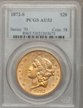 Liberty Double Eagles: , 1872-S $20 AU53 PCGS. PCGS Population (99/209). NGC Census:(193/793). Mintage: 780,000. Numismedia Wsl. Price for problem ...