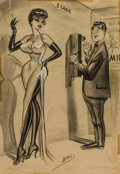 Pin-up and Glamour Art, BILL WARD (American, 1919-1998). Pay Phone. Charcoal andconte crayon on paper. 20 x 14 in.. Signed lower center.Fr...