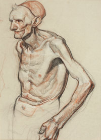 DEAN CORNWELL (American, 1892-1960) Skectch of an Elderly Man Pastel and charcoal on paper 19.5 x