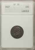 Bust Dimes: , 1827 10C VF30 ANACS. NGC Census: (7/236). PCGS Population (15/243).Mintage: 1,300,000. Numismedia Wsl. Price for problem f...