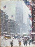 Fine Art - Painting, American:Modern  (1900 1949)  , GUY CARLETON WIGGINS (American, 1883-1962). The Empire StateBuilding, Winter. Oil on canvas board. 12 x 9 inches (30.5 ...