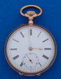 Timepieces:Pocket (post 1900), Swiss 46 mm 14k Rose Gold Open Face Pocket Watch. ...