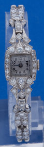 Timepieces:Wristwatch, Swiss Ladies Platinum & Diamond Bracelet Wristwatch. ...