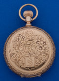Timepieces:Pocket (post 1900), Waltham Private Label 14k Gold Fancy 6 Size Hunter's Case PocketWatch. ...