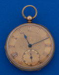 Timepieces:Pocket (pre 1900) , Biven Gracechurch London 18k Gold Side Lever Fusee 40 mm With FancyDial. ...
