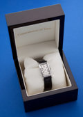 Timepieces:Wristwatch, Hamilton Vintage Platinum & Diamond Rectangular Wristwatch WithCustom Box. ...