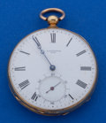 Timepieces:Pocket (pre 1900) , Jacot Matile 44 mm 18k Gold Key Wind Pocket Watch. ...