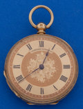 Timepieces:Pocket (pre 1900) , Swiss Ladies 18k Gold 36 mm Key Wind Pocket Watch. ...