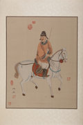 Antiques:Posters & Prints, [Chinese Prints]. Two Hand-Colored Chinese Prints on Silk. Two...(Total: 2 Items)