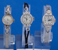 Timepieces:Pocket (post 1900), Three - 14k White Gold Wristwatches With Non Gold Bands. ...(Total: 3 Items)