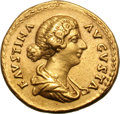Ancients:Roman Imperial, Ancients: Faustina II, Wife of Marcus Aurelius. Aureus, 7.32g (6h).Rome. Obv: FAVSTINA - AVGVSTA Bust draped right. Rx: SALVTIAVGVST...