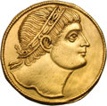 Ancients:Roman Imperial, Ancients: Constantine I. 307-337 AD. One and one-half solidus goldmedallion, 24 mm, 6.29g (6h). Siscia, 326-7 AD. Obv: No legend.Hea...