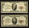 National Bank Notes:Kentucky, Middlesborough, KY - $10 1929 Ty. 1 The NB of Middlesborough Ch. #7086. Middlesborough, KY - $20 1929 Ty. 1 The N... (Total: 2 notes)