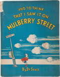 Books:Children's Books, Dr. Seuss. And to Think That I Saw It on Mulberry Street.New York: The Vanguard Press, 1937.. ...