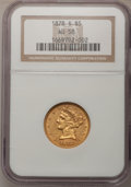 Liberty Half Eagles: , 1878-S $5 AU58 NGC. NGC Census: (176/119). PCGS Population (42/57).Mintage: 144,700. Numismedia Wsl. Price for problem fre...
