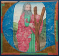 Books:Early Printing, [Illuminated Manuscript]. Large Initial Featuring St. Andrew....