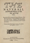 Books:Natural History Books & Prints, Joseph Acosta. The Naturall and Morall Histories of the East and West Indies. ...
