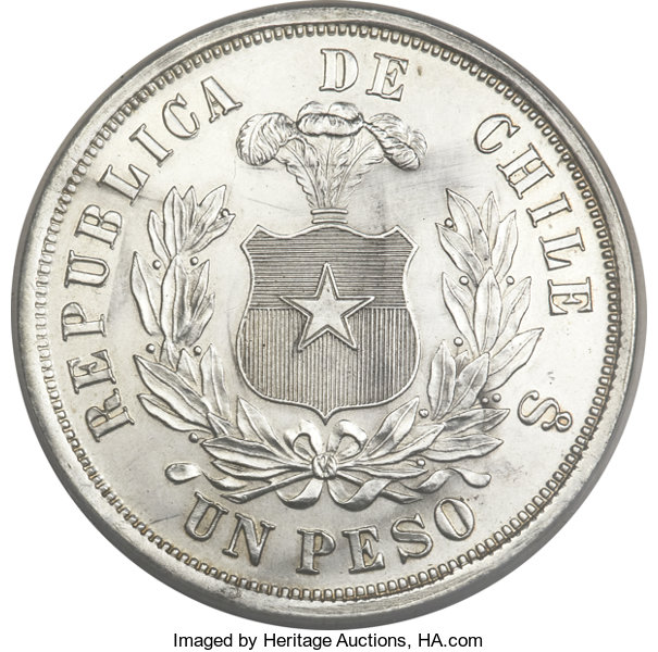 Chile Republic Peso 1883 Flat Top 3 Chile Lot 23349