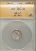 Early Half Dimes, 1795 H10C -- Cleaned -- ANACS. VF30 Details. V-5, LM-8, R.3....