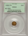 California Fractional Gold: , 1880/76 25C Indian Round 25 Cents, BG-885, R.3, MS62 PCGS. PCGSPopulation (30/134). NGC Census: (5/11). (#10746)...