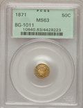 California Fractional Gold: , 1871 50C Liberty Round 50 Cents, BG-1011, R.2, MS63 PCGS. PCGSPopulation (85/92). NGC Census: (9/19). (#10840)...