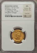 Ancients:Byzantine, Ancients: BYZANTINE EMPIRE. Justinian I the Great (AD 527-565). AVsolidus (4.42 gm). ...