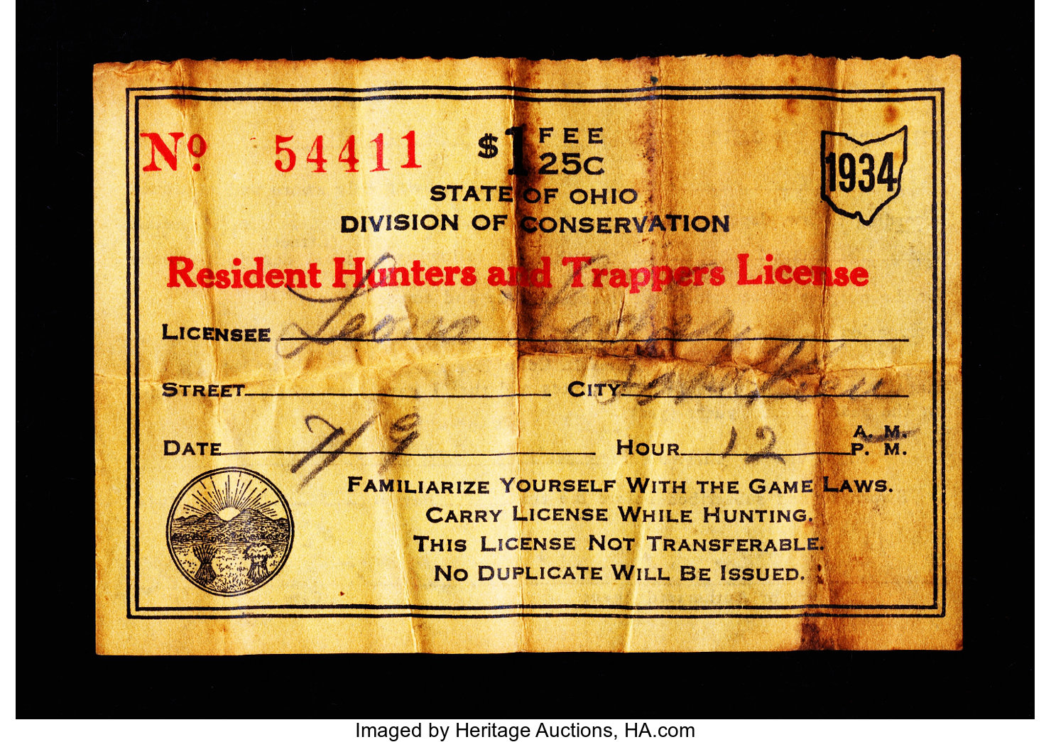 Ohio 1934 Residence Hunters and Trappers License       | Lot