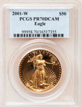 Modern Bullion Coins: , 2001-W G$50 One-Ounce Gold Eagle PR70 Deep Cameo PCGS. PCGS Population (77). NGC Census: (419). Numismedia Wsl. Price for ...