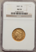 Classic Half Eagles, 1837 $5 AU53 NGC. Small Date, Breen-6513, McCloskey 3-C, R.4....
