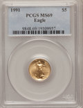 Modern Bullion Coins: , 1991 G$5 Tenth-Ounce Gold Eagle MS69 PCGS. PCGS Population (966/3).NGC Census: (1817/103). Mintage: 165,200. Numismedia Ws...
