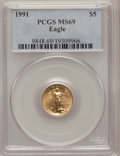 Modern Bullion Coins: , 1991 G$5 Tenth-Ounce Gold Eagle MS69 PCGS. PCGS Population (966/3).NGC Census: (1808/103). Mintage: 165,200. Numismedia Ws...
